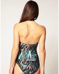 Insight - Black Feather Print Halter Neck Suit - Lyst