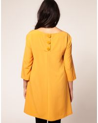 ASOS Collection | Yellow Asos Curve 60s Swing Dress with Button Back Detail | Lyst