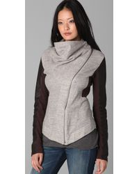 Elizabeth and James | Gray Kurt Leather Trim Double Knit Jacket | Lyst