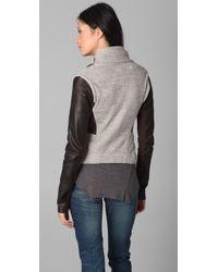 Elizabeth and James - Gray Kurt Leather Trim Double Knit Jacket - Lyst