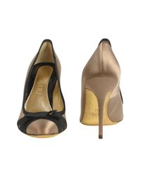 FORZIERI - Brown Black Bow Taupe Satin and Leather Pump Shoes - Lyst