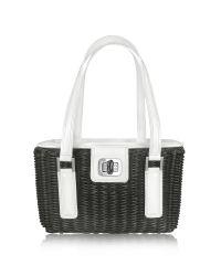 FORZIERI - Capaf Line Black & White Wicker Basket Handbag - Lyst