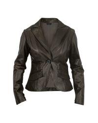 FORZIERI | Womens Black Perforated Trim Leather Blazer | Lyst