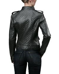 FORZIERI - Womens Black Quilted Leather Zip Motorcycle Jacket - Lyst