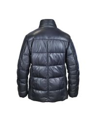 FORZIERI - Dark Blue Leather Puffer Coat for Men - Lyst