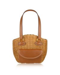 FORZIERI | Capaf Line Light Brown Wicker And Leather Bucket Bag | Lyst