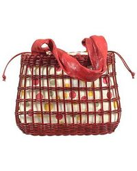 FORZIERI | Capaf Cherry Red Wicker And Leather Tote Bag | Lyst