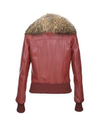 FORZIERI | Womens Fur Collar Red Italian Leather Jacket | Lyst