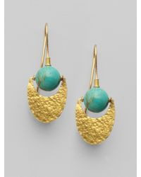 Gurhan - Metallic Turqoise & 24k Gold Crescent Earrings - Lyst