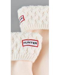 HUNTER | White Basket Knit Welly Socks | Lyst