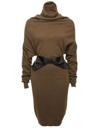 Lanvin | Natural Draped Turtleneck Dress | Lyst