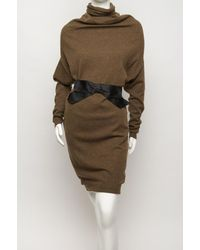 Lanvin - Natural Draped Turtleneck Dress - Lyst