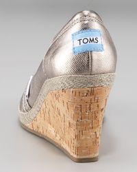 TOMS - Bennet Metallic Cork Wedge - Lyst