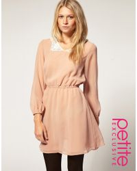 ASOS Collection | Natural Asos Petite Exclusive Mini Dress with Crochet Collar | Lyst