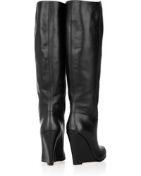 Bally | Black Deity Leather Wedge Knee Boots | Lyst