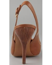 Edmundo Castillo | Brown Cap Toe Sling Back Heels | Lyst