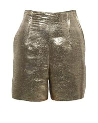 Lanvin | Golden Metallic Shorts | Lyst