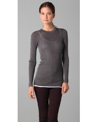 VINCE | Gray Ribbed Metallic Sweater | Lyst