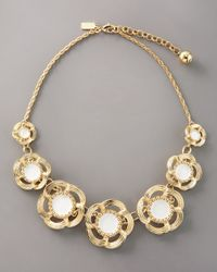 kate spade new york | Metallic Enamel Flower Necklace | Lyst
