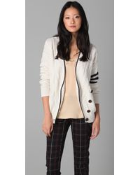 L.A.M.B. | White Cardigan Sweater with Asymmetrical Front | Lyst