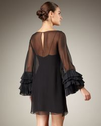 Notte by Marchesa | Black Ruffle Sleeve Dress | Lyst