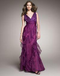 Badgley Mischka | Purple Sequin-top Organza Gown | Lyst