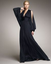 Badgley Mischka | Blue Batwing-sleeve Ruched Gown | Lyst
