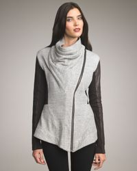 Elizabeth and James | Gray Kurt Leather-sleeve Knit Jacket | Lyst