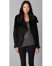 Helmut Lang - Black Reversible Funnel Neck Fur Jacket - Lyst