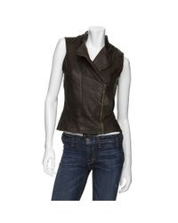 Improvd | Brown Leather Moto Vest | Lyst