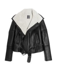 Lot78 | Black Blake Shearling and Leather Biker Jacket | Lyst