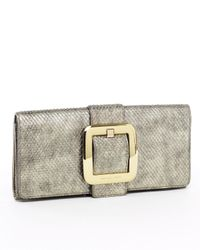 MICHAEL Michael Kors | Metallic Sutton Python-embossed Clutch, Bronze | Lyst