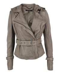 Muubaa | Gray Stone Leather Biker Jacket for Men | Lyst