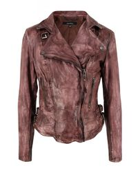 Muubaa | Brown Flax Burnt Tan Leather Biker Jacket for Men | Lyst