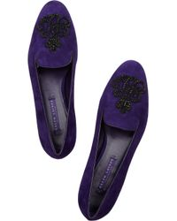 Ralph Lauren Collection - Blue Quinly Suede Loafers - Lyst