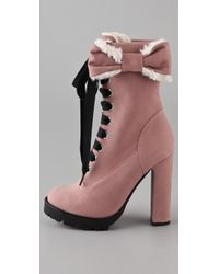 RED Valentino - Pink Lace Up High Heel Boots - Lyst