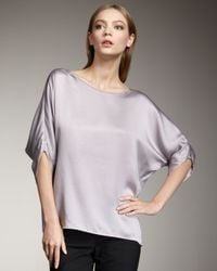 Vince - Gray Envelope Silk Blouse, Icing - Lyst