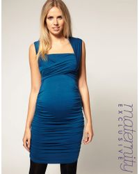 ASOS Collection | Blue Asos Maternity Exclusive Dress with Ruched Wrap Bust | Lyst
