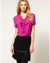 ASOS Collection | Pink Asos Pussybow Short Sleeve Blouse | Lyst
