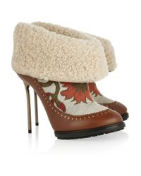 Bally   Brown Mame Shearling and Brocade Ankle Boots   Lyst