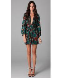 Issa | Green Long Sleeve Print Kimono Dress | Lyst