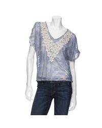 Leyendecker - Purple V Neck Crochet Flower Split Shoulder Top - Lyst
