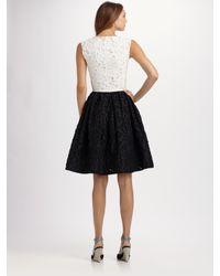 Oscar de la Renta | Black Patchwork Dress | Lyst