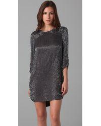Parker - Gray Beaded 3/4 Sleeve Dress - Lyst