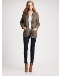 Pendleton | Gray Wool Cable-knit Cardigan | Lyst