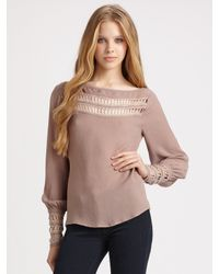 The Addison Story - Gray Lace Cut-out Top - Lyst