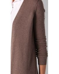 Theory | Brown Fontini Long Cashmere Cardigan | Lyst