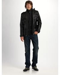 7 For All Mankind - Black Leather Utility Jacket for Men - Lyst