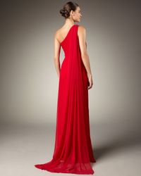 Notte by Marchesa | Red Bejeweled One-shoulder Gown | Lyst