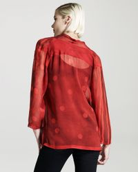 Vena Cava - Red Drape-front Silk Top - Lyst